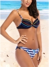 Mulheres Striped Print Conjunto de biquíni Backless Low Tie Cintura Swimwear Swimsuit Beach Bathing