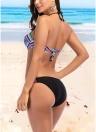 Женщины Strappy Print Bikini Set Backless Swimwear Купальник Beach Купальный костюм