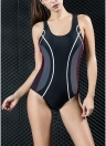 Women Professional One Piece Swimsuit Sports Swimwear Contrast Bathing Suit Swimming Suit