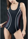Mulheres Traje de banho profissional de uma peça Swimwear esportivo Traje de banho de contraste Traje de banho