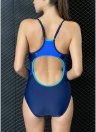 Women One-Piece Swimwear Color Splice Strappy Sleeveless Padding Wireless Bathing Suit Swimsuits