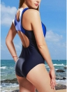 Women One-Piece Swimwear Color Splice  Sleeveless Padding Wireless Bathing Suit Swimsuits