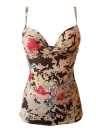 Mulheres Flower Print Tankini Top Underwire Shirted Swimsuit Swimwear Bathing Suit