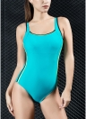 Mulheres Sports One Piece Swimsuit Swimwear Backless Splice Racing Training Fato de banho