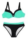 Mulheres Color Block Bikini Set Backless Underwire Bandage Swimsuit Swimwear Fato de banho