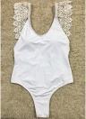 Femmes Maillot de bain une pièce dos nu solide Crochet Monokini String Maillots de bain