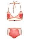 Conjunto de Biquíni Mulheres Padrão do Coração Halter Bra Beach Swimwear Swimsuit Fato de banho