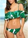 Mulheres Conjunto de Biquíni Folhas Tropicais Imprimir Traje de banho Ruffled Beach Swimsuit Traje de banho