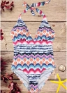 Women One-piece Swimsuit Colorful Striped  Halter Monokini Swimwear Bathing Suit