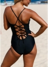 Plunge V Neck Lace Ruffle Bandage Cross Hollow Out One Piece Swimsuit