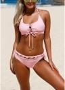 Conjunto de Bikini de encaje con cordones para mujer Conjunto de traje de baño con relleno de Bralette Biquini