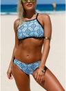 Women Boho  Banded Bikini Set Cross Back  Two Piece Swimsuit Bathing Suits