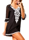Encaje de ganchillo Hollow Out Half Sleeves Loose Cover Ups