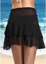 Mulheres Sheer Beach Saia Ruffles Solid Mini Skirt Swimsuit Beachwear