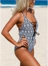 Costume da bagno donna Beach Wear Costumi da bagno con stampa geometrica con lacci Strappy Swimwear