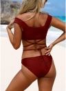 Women Tankini Swimsuits Lace up  Padded Wireless Two Pieces Bikini Set Swimwear
