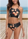 Mulheres Swimsuits Cropped Crisscross Tie Back Bikini Set Two Pieces Swimwear