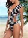 Women One-piece Swimsuit Striped  Cutout Back Swimwear Bathing Suit
