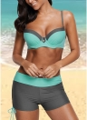Bikini imbottito push up imbottito con patch color block