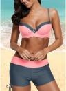 Bikini imbottito push up imbottito con patch color block