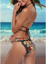 Vintage Leopard Print Halter Push Up Bra Crisscross Bandage Bikini