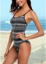 Bandagem de impressão geométrica Cross Over Open Back One Piece Swimsuit
