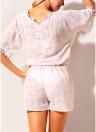 Floral Crochet Lace Up Bandage taille élastique évider Playsuit