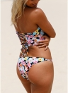 Floral Halter Lace Up Back Low Waist Strappy Bikini Set