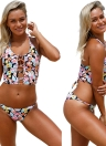 Floral Halter Lace Up Back Baixa Cintura Strappy Bikini Set