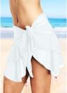 Sheer Mesh Ruffles Solid Color Bikini Skirt