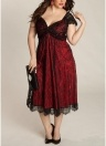Mulheres Plus Size Vestido Floral Lace Querida Midi Elegante Evening Party Wear