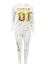 Women Tracksuit Set Letter Print Hoodie & Pants Sweat Suits Casual Two Piece