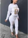 Frauen Trainingsanzug Set Brief Print Hoodie & Hosen Sweat Suits Casual Zweiteiler