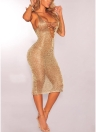 Sheer Knit Lace Up Deep V Neck manches Sexy Femmes Dress