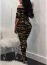 Off the Shoulder Chain Print Sexy Women Jumpsuit