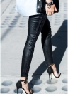 Women Leather Pants Lace Up Bandage Pencil Pants Elastic Slim Trousers