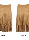 Moda mujer con flecos borlas falda cintura alta lado cremallera meneo Midi falda Bodycon falda marrón/negro/de color caqui