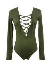Nouveau femmes Sexy Body plongeante encolure lacez vers le haut de cravate avant Combi Stretch justaucorps combinaison salopette