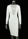Новая мода женщин платье окунуться V декольте крест накрест ремни фронт с длинным рукавом Bodycon Fit сексуальные Midi цельный
