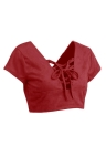 L'Europe Femmes Sexy Crop Top Faux Suede Strap Lace Up V-Neck dos ouvert Slim Tops