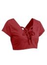 Европа сексуальных женщин Crop Top Замша Faux ремень Узелок V-образным вырезом с открытой спиной Тонкий Топы