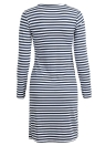 Casual Round Neck Long Sleeve Split Hem Slim Stripe Dress