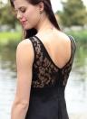 Partie de femmes sexy Mini robe maille dentelle épissure arrière découpe Skater a-ligne sans manches robe Clubwear noir