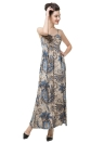 Mulheres Elegância Floral Print V Neck Light Padding Spaghetti Strap Maxi Dress