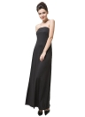 Fashion Women Strapless Neckline Ruched  Maxi Dress