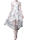 Floral Print Round Neck Sleeveless Organza White Dress