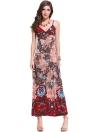 Floral Print Deep V Neck Backless Bohemian Beach Slip Maxi Dress