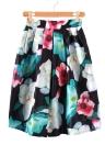 Femmes Retro jupe florale impression a-ligne plissée élastique taille haute glissière au dos Midi jupe noir
