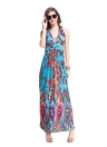 Summer Deep V-Neck Halter Neck Feather Print Boho Beach Maxi Dress