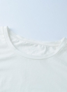 Chic Tassel Fringing O Neck Sleeveless Solid Regular Fit White Tee